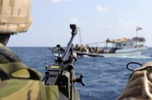 Royal Marines Keeping Watch Over Suspect Dhow